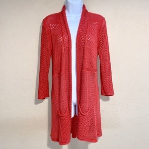 Angel of the North open knit cardigan orange M